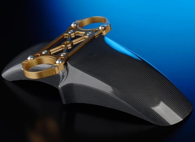 OHLINSφ43正立式前叉専用 碳纖維前土除/前叉穩定器(手銬)套件 (Racing 17吋用)
