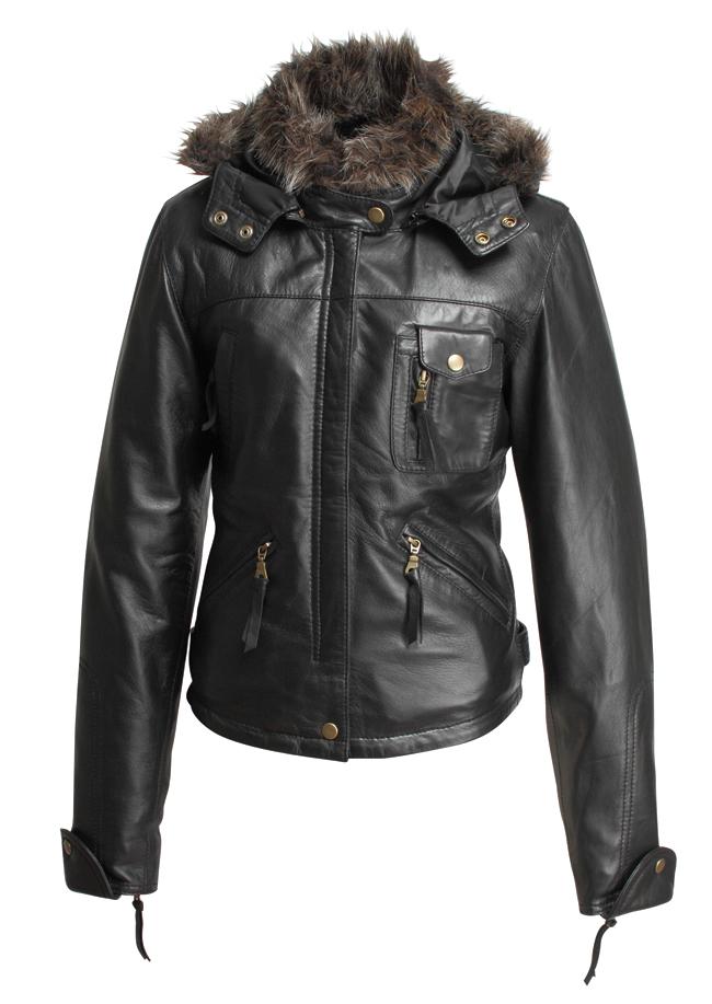 女用皮革外套