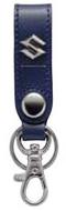 皮革吊環式鑰匙圈-藍色 <SEA BASS>