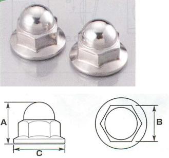 不鏽鋼墊圈頭螺帽 (無鋸齒) (有蓋)
