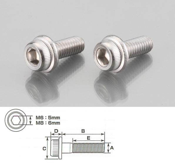 內六角墊圈頭螺絲 (SUS不銹鋼) 6×15/2P