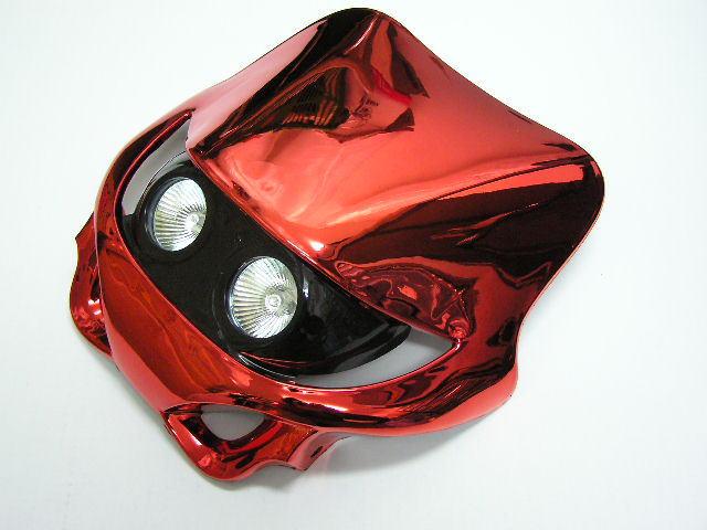 MotoCross 頭燈整流罩  水平型 Type13  (電鍍紅色)