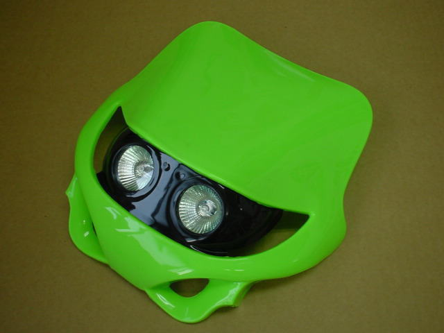 MotoCross 頭燈整流罩  水平型 Type2 (綠色)