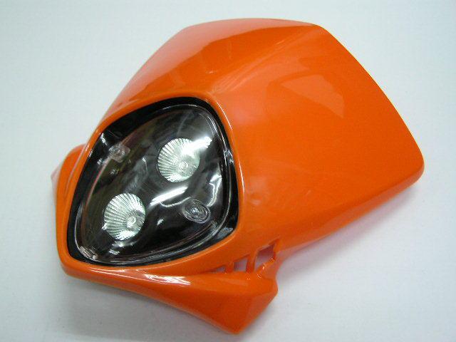 MotoCross 頭燈整流罩  垂直型 Type7  (橘色)