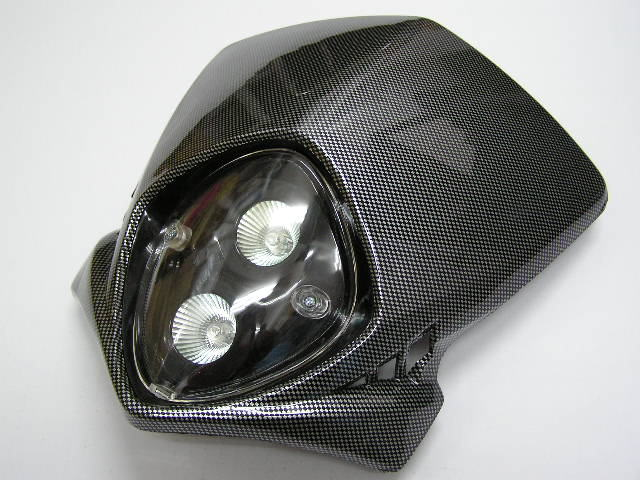 MotoCross 頭燈整流罩  垂直型 Type10  (碳纖維紋路)