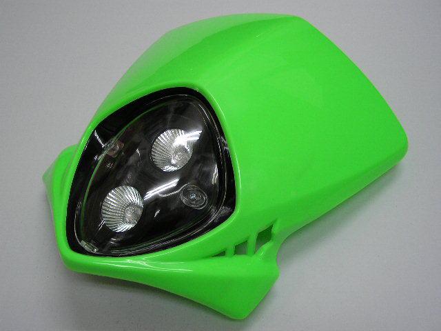 MotoCross 頭燈整流罩  (垂直型/雙燈/綠色)