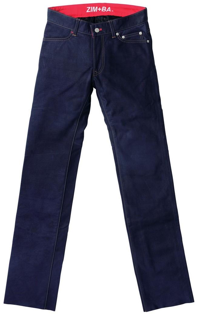直筒皮革丹寧牛仔褲 4012