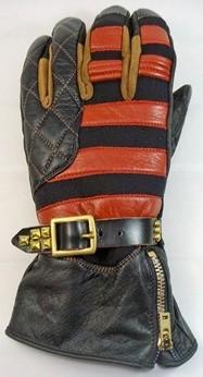 氯丁橡膠×牛革 條紋手套