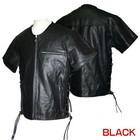 Motobluez [HEAVY RED LABEL] Punched Leather Mesh Shirt Black