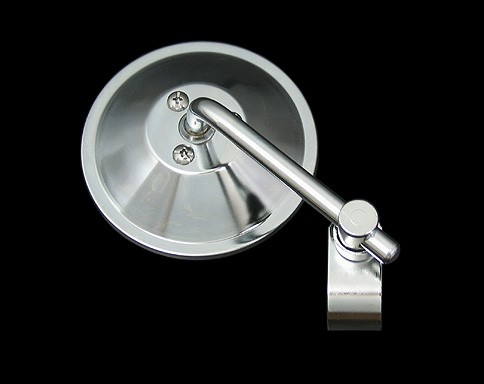 4吋 短柄圓型後視鏡 夾鉗式 (鍍鉻)
