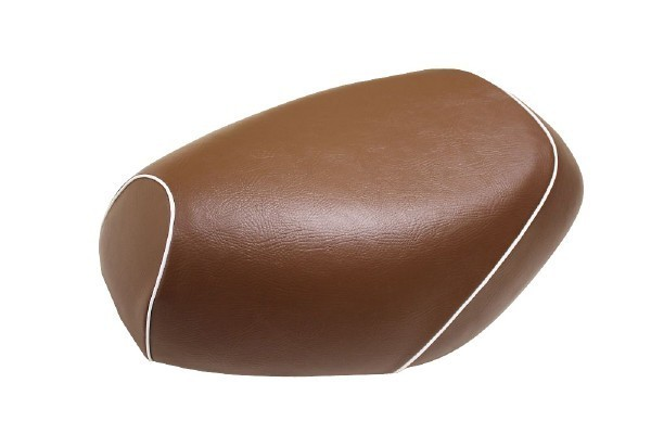 日本製坐墊皮 覆蓋型 【咖啡色・白色滾邊】