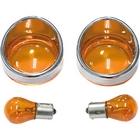 【KUSTOM1】Harley-Davidson用 方向燈燈殼套件 Bezel Type 琥珀色