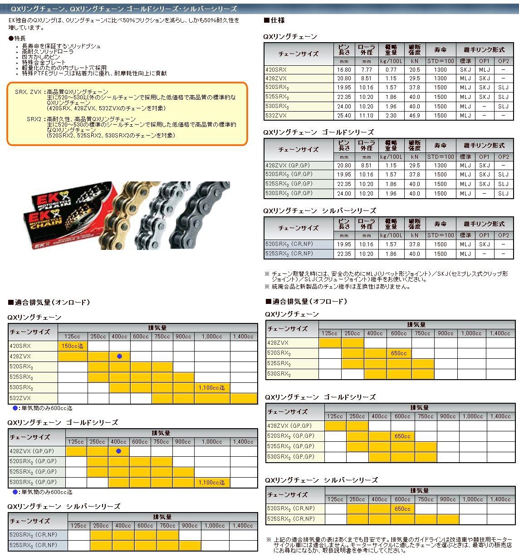 【EK CHAIN】QX油封鏈條 428ZVX - 「Webike-摩托百貨」