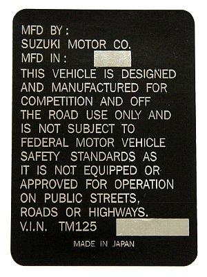SUZUKI TM125 Head Tube貼紙
