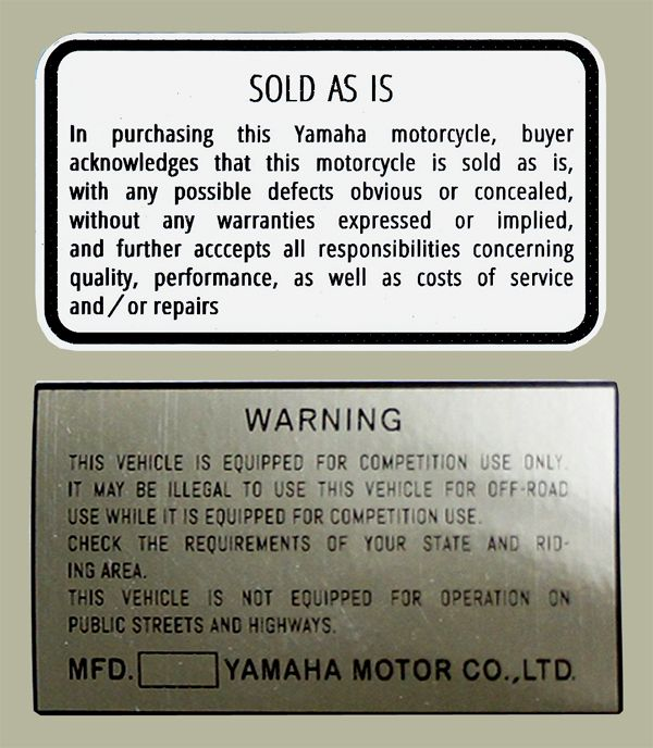 YAMAHA YZ Warning 警告貼紙