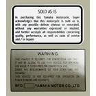 【HollyEquip】YAMAHA YZ Warning 警告貼紙