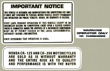 1979 HONDA CR125 1978-79 HONDA CR250R Warning 貼紙