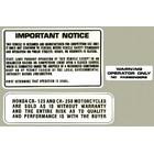 【HollyEquip】1979 HONDA CR125 1978-79 HONDA CR250R Warning 貼紙