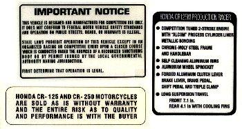1974-75 HONDA CR125 Elsinore Warning 貼紙