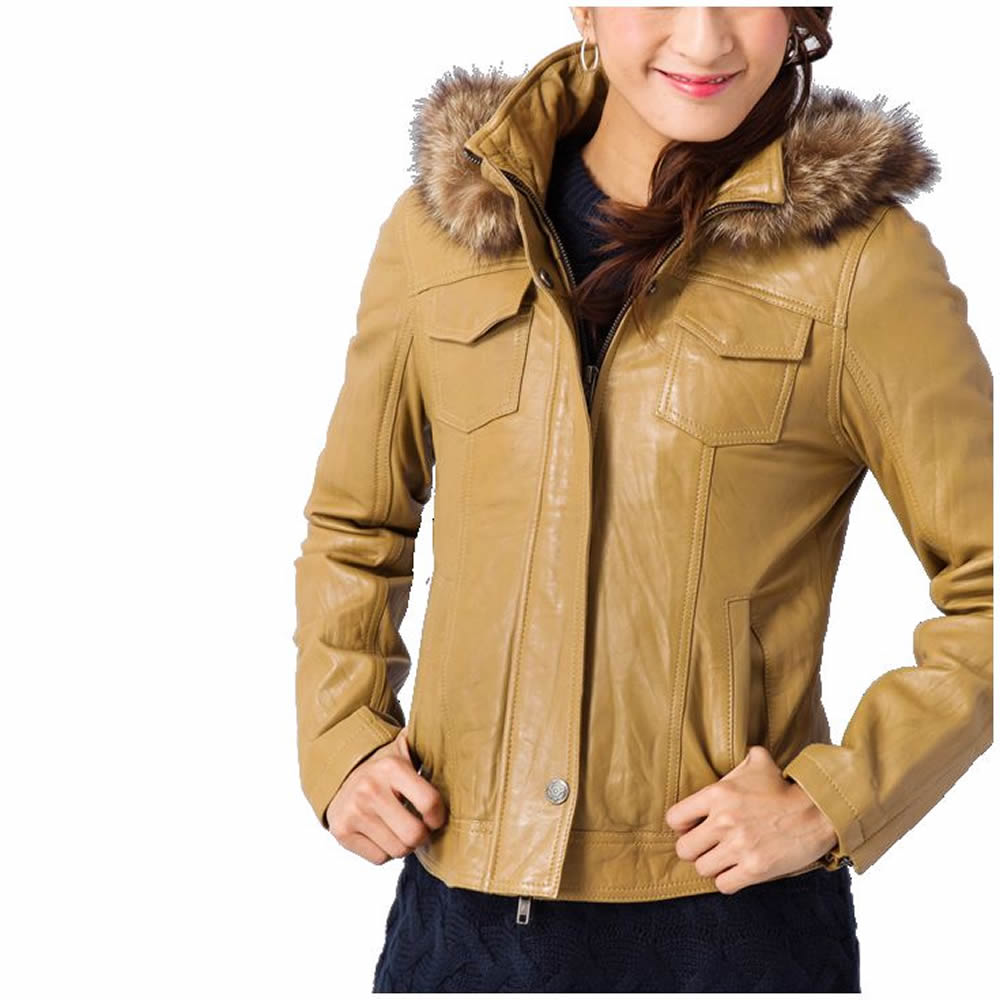 可拆式立領真毛洗舊感女用皮革外套
