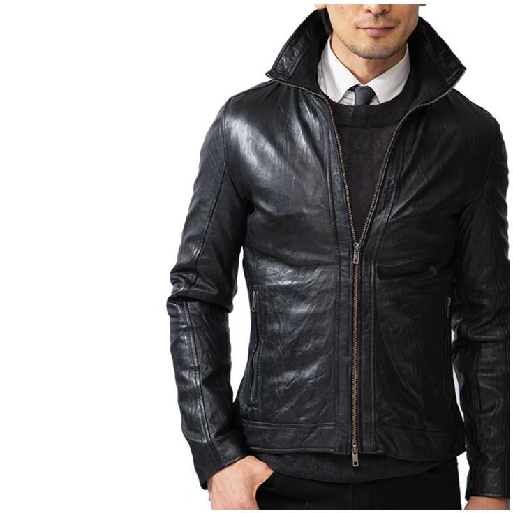 洗舊感立領皮革騎士外套