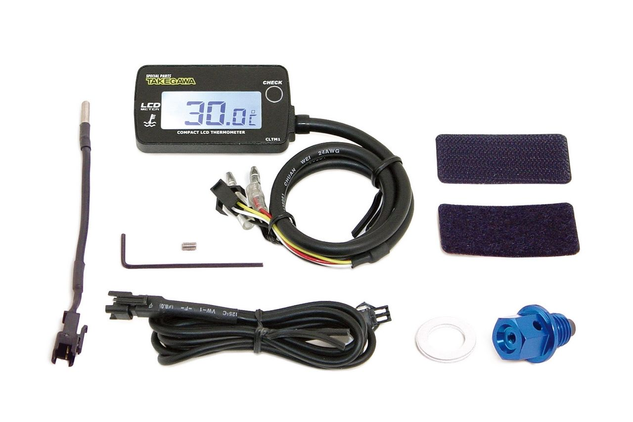 LCD 綜合溫度錶組(外部電源背光型式附MONKEY用洩油螺絲轉接頭)