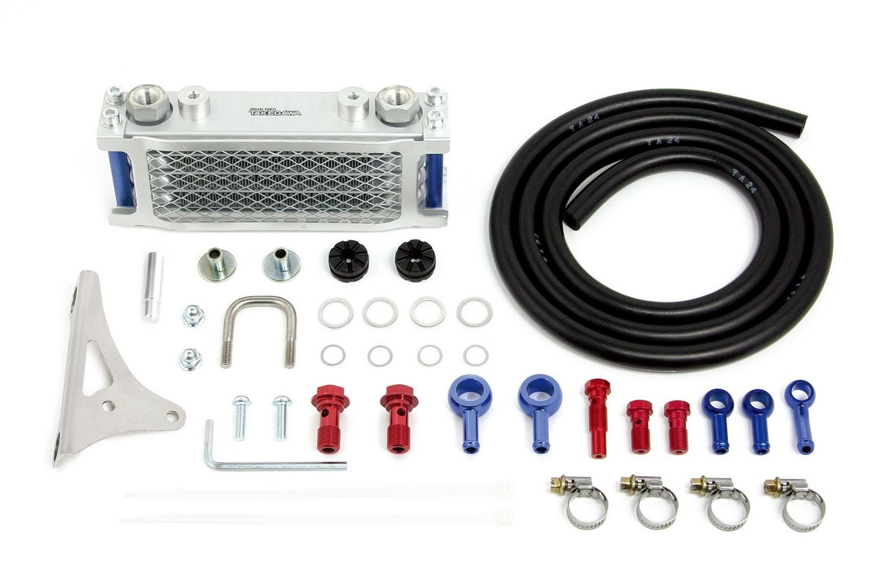 Compact 4排式機油冷卻器(橡膠軟管/ 銀色散熱核心)