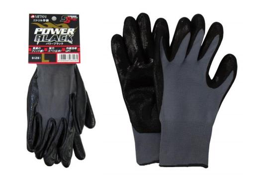 【MITANI】丁腈橡膠無襯裡手套 POWER 黑色