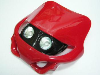 MotoCross 頭燈整流罩  (水平型/雙燈/紅色)