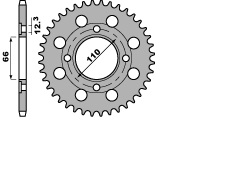 【PBR】ACB 38齒鋼製後齒盤/ 530鏈條/ Type 849 Yamaha RD250DXD