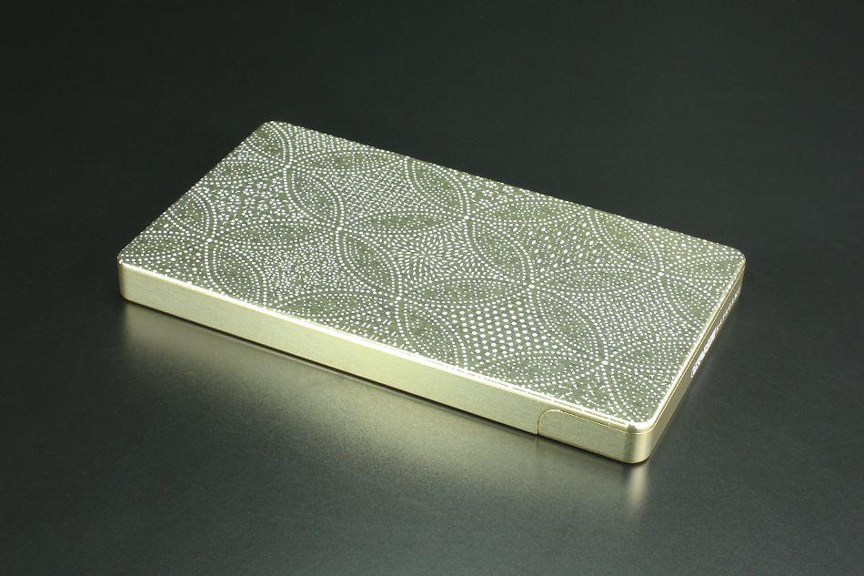 硬質鋁合金切削加工名片夾 OKOSHI-KATAGAMI 「七寶寄小紋」