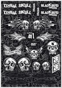 blackbird racing tribal skull sticker kit 5076t