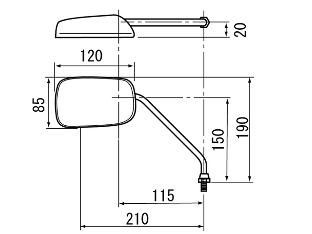 【DAYTONA】角型後視鏡小型型式 M8逆螺絲 - 「Webike-摩托百貨」