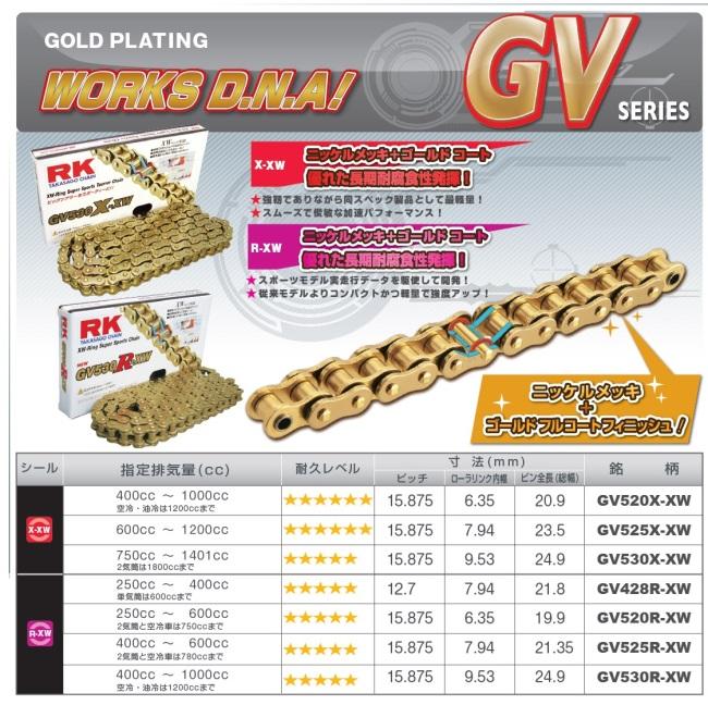 【RK】GV 系列 金色鍊條 (GV520RXW) - 「Webike-摩托百貨」