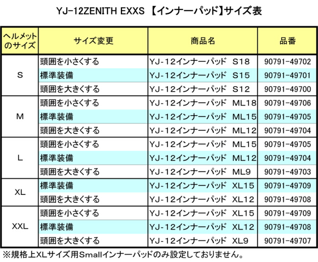 【YAMAHA】YJ-12ZENITH EXXS內襯墊 - 「Webike-摩托百貨」