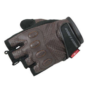 Punching Leather Half Finger Gloves ROUGH&ROAD