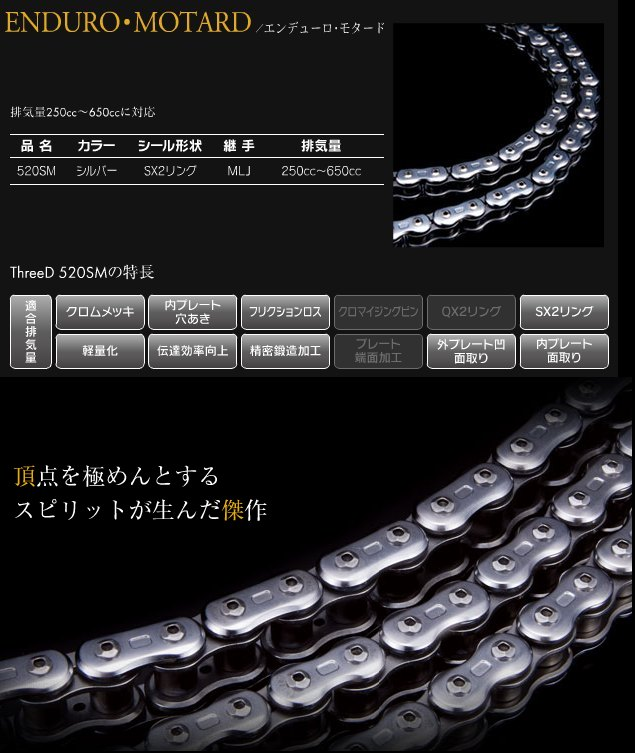 【EK CHAIN】3D 鏈條 520SM - 「Webike-摩托百貨」