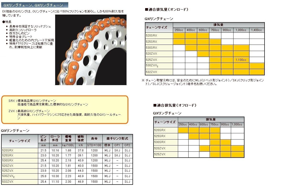 【EK CHAIN】QX油封鏈條金屬色 520SRX2(AO/NP) - 「Webike-摩托百貨」