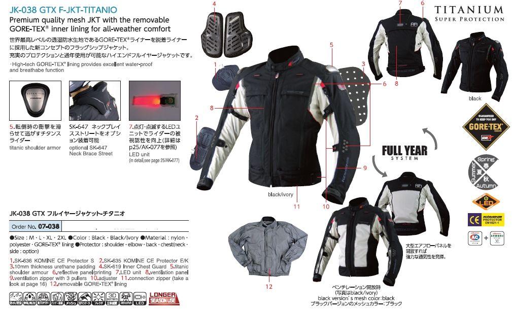 【KOMINE】JK-038 GTX F-JKT TITANIO夾克 - 「Webike-摩托百貨」