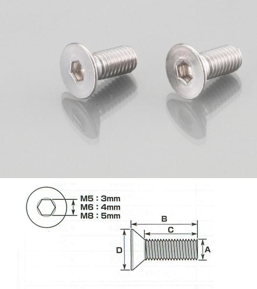 【K-CON】內六角平頭螺絲 (SUS不鏽鋼) 5×12/2PC - 「Webike-摩托百貨」