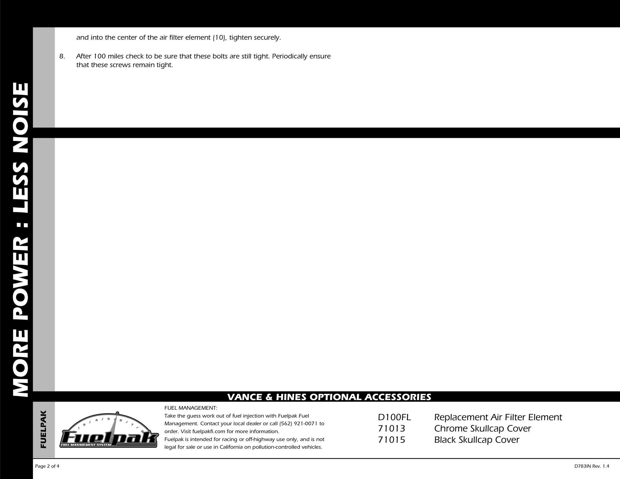 【VANCE&HINES】VO2 AIR INTAKE NAKED空濾套件 - 「Webike-摩托百貨」
