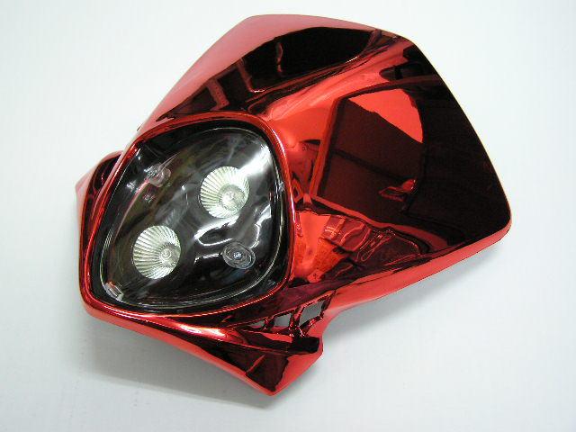 【KN企劃】MotoCross 頭燈整流罩  垂直型 Type13  (電鍍紅色) - 「Webike-摩托百貨」