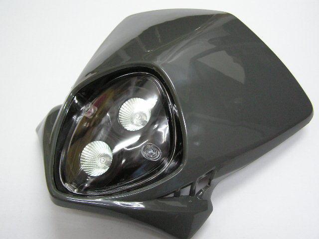 【KN企劃】MotoCross 頭燈整流罩  垂直型 Type8  (灰色) - 「Webike-摩托百貨」