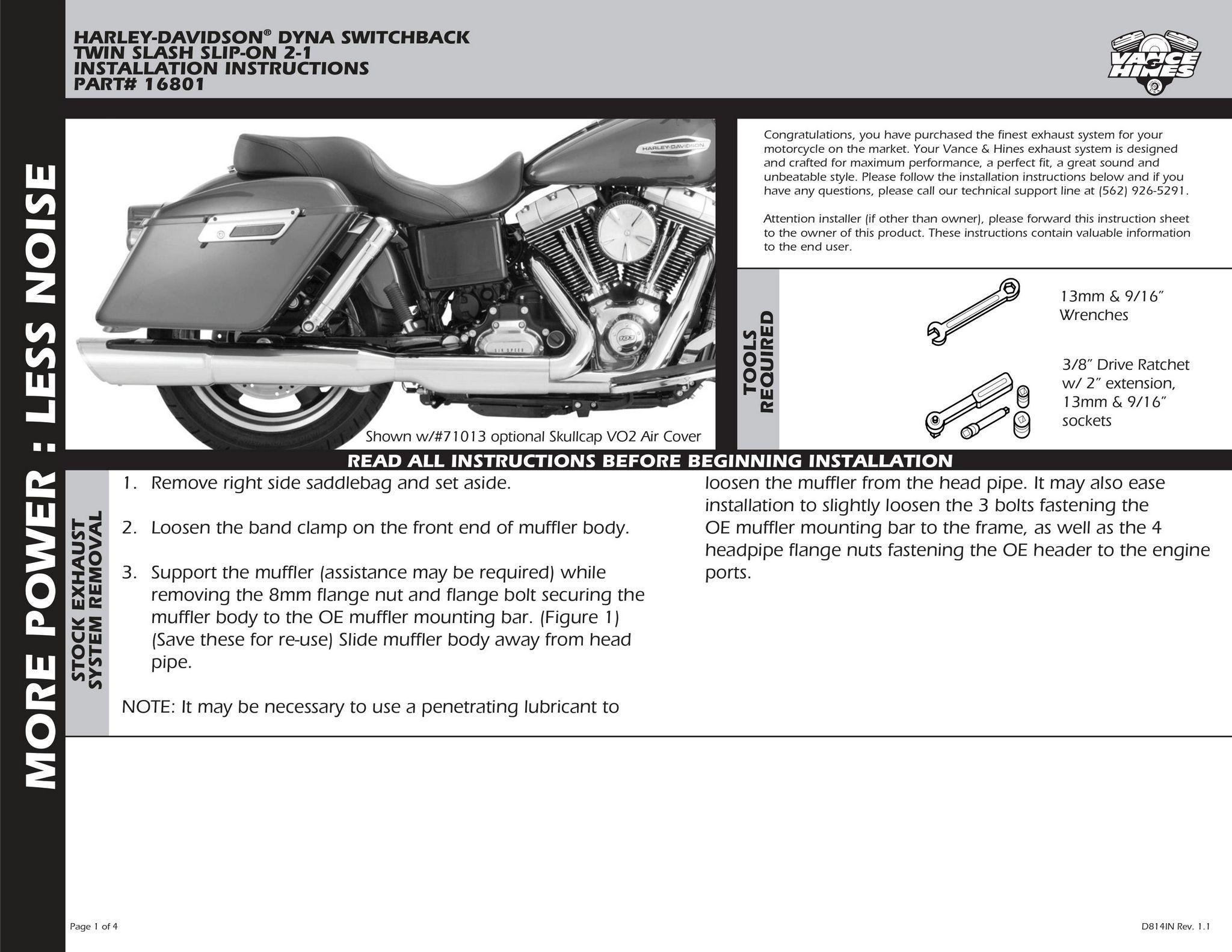 Vance /& Hines Twin Slash 2 into 1 Slip On Chrome 16801