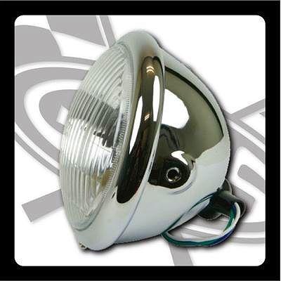 【GOODS】5-3/4吋 Bates Type 頭燈 (鍍鉻 側邊安裝型 H4) - 「Webike-摩托百貨」
