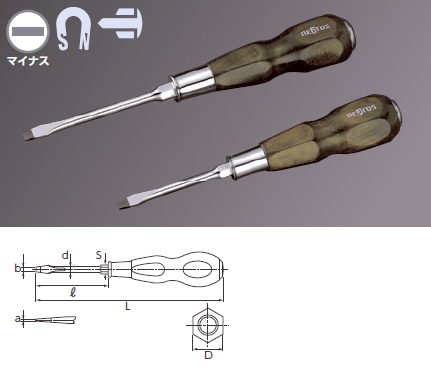 Wooden Handle Screwdriver Penetrating Type (Slotted)