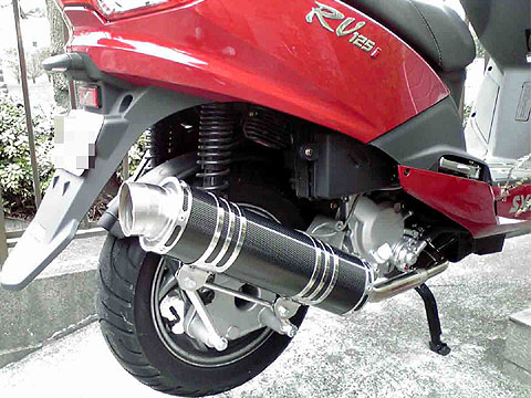 【Racing Shop Yokota】RSY Little Bomb 黑色碳纖維全段排氣管:SYM RV125 i(LF12W)用 - 「Webike-摩托百貨」