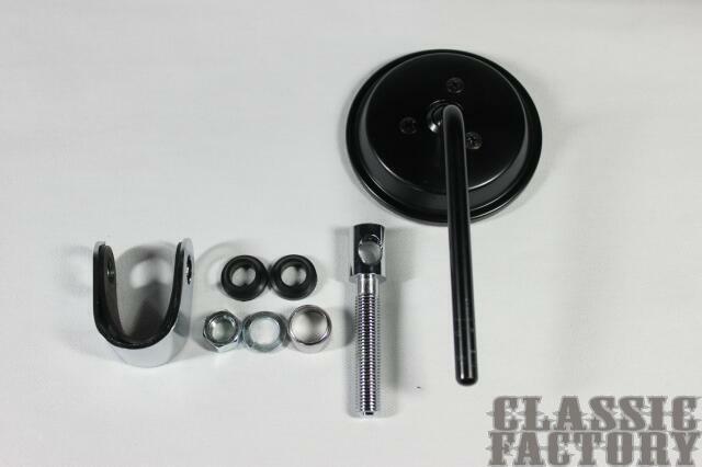 【CLASSIC FACTORY 】3吋夾鉗式圓型後視鏡( 黑) - 「Webike-摩托百貨」