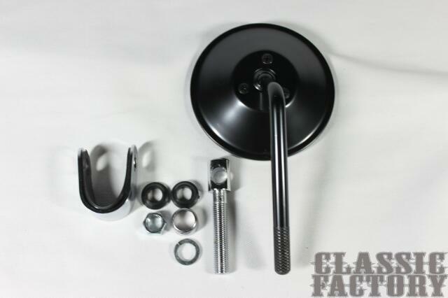 【CLASSIC FACTORY 】4吋夾鉗式圓型後視鏡( 黑) - 「Webike-摩托百貨」