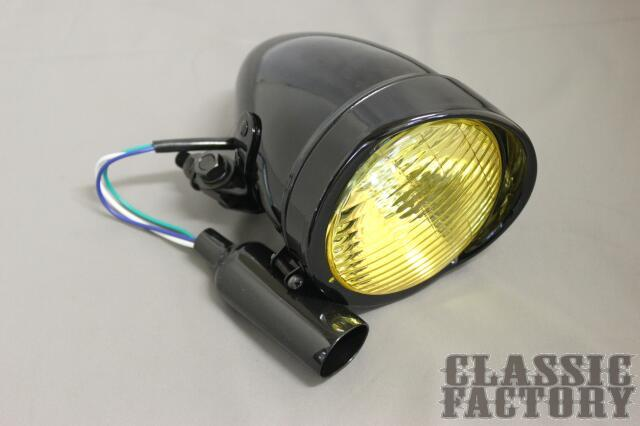 【CLASSIC FACTORY 】4.5吋 Brett Bates 頭燈 (黑色/黃色燈殼) - 「Webike-摩托百貨」